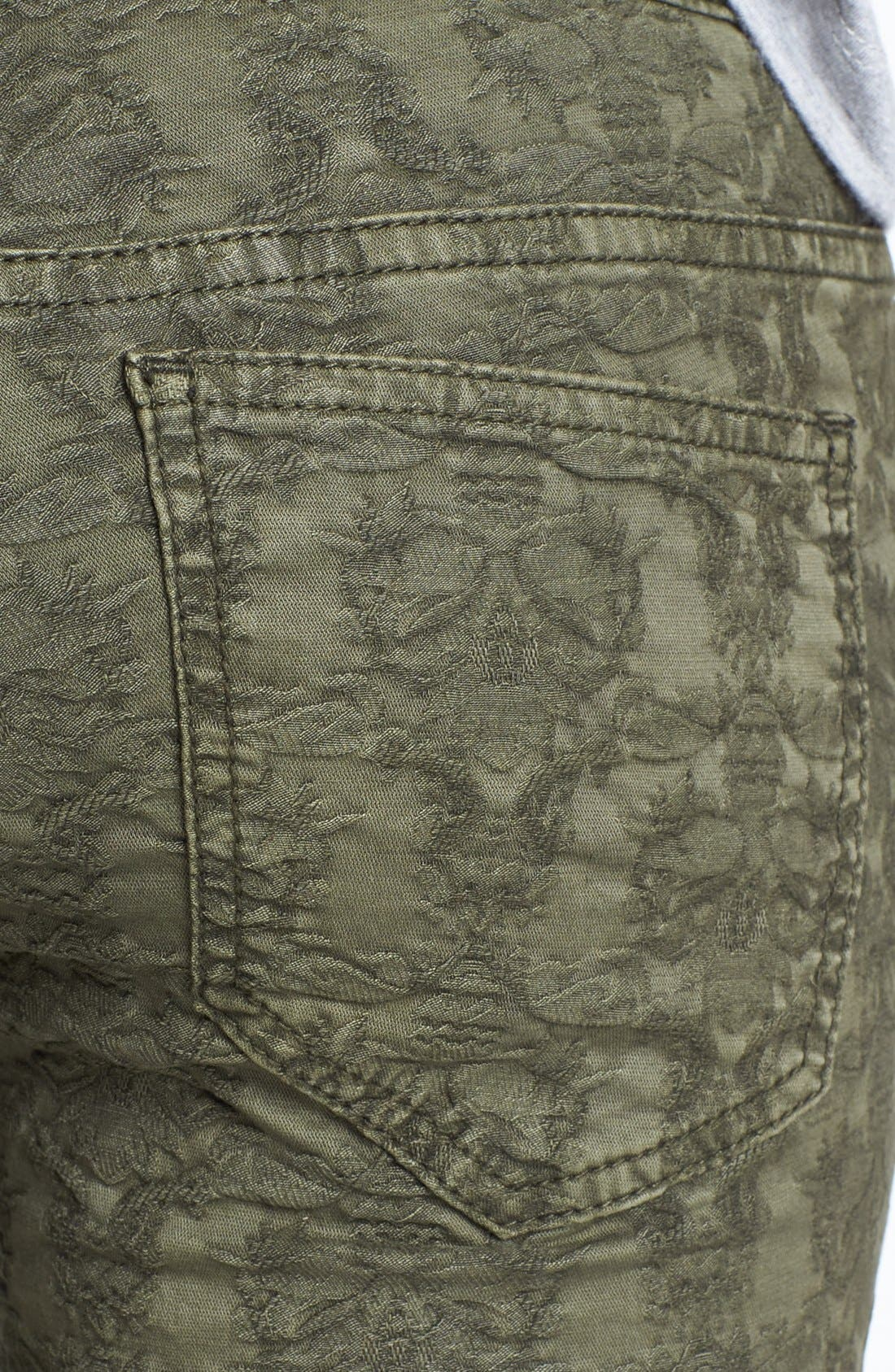 Alternate Image 3  - Free People Jacquard Skinny Jeans (Olive)