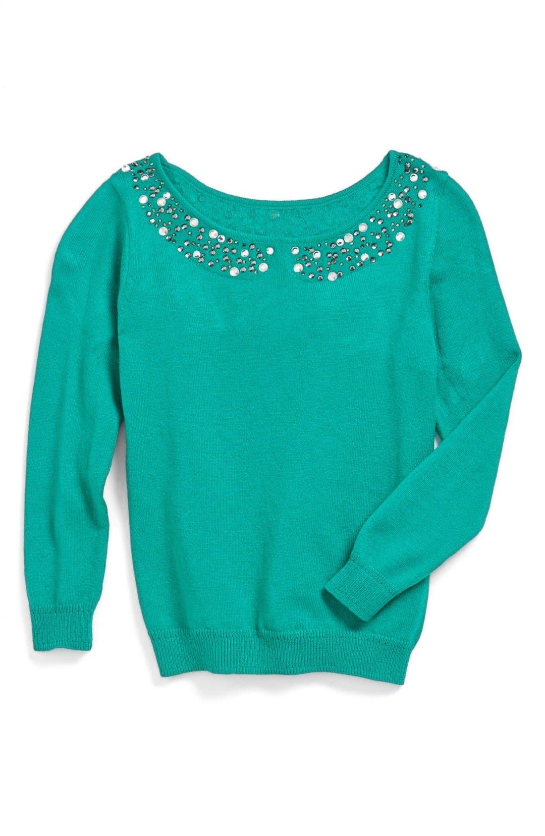 Main Image - Milly Minis Rhinestone Collar Sweater (Toddler Girls, Little Girls & Big Girls)