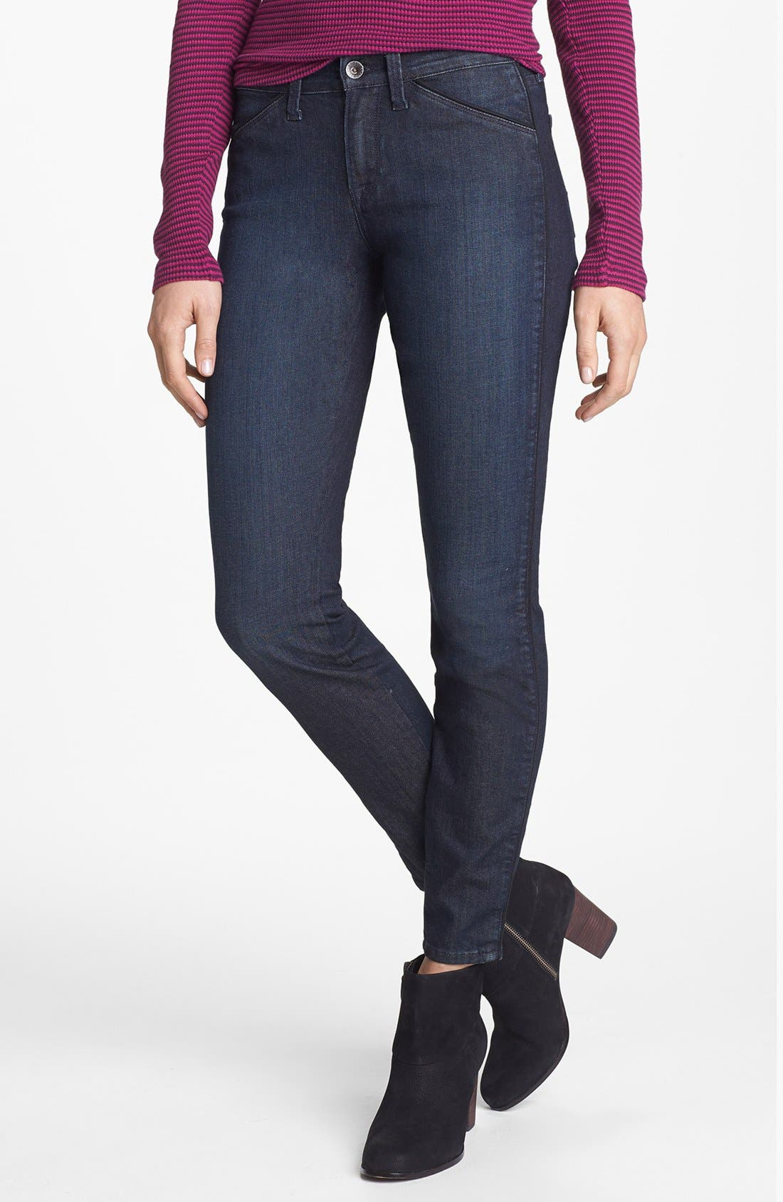 Alternate Image 2  - Lucky Brand 'Sofia' Tuxedo Piped Skinny Jeans (Cullowhee)