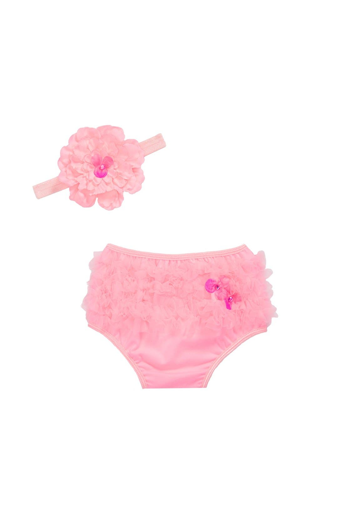 Alternate Image 1 Selected - PLH Bows & Laces Ruffle Diaper Cover & Headband Set (Infant)