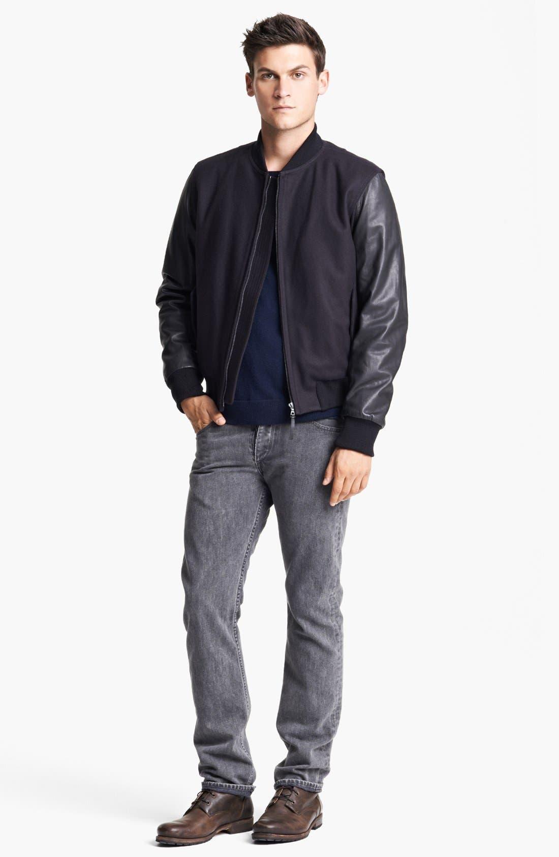 Alternate Image 4  - rag & bone 'Bastion' Baseball Jacket with Leather Sleeves
