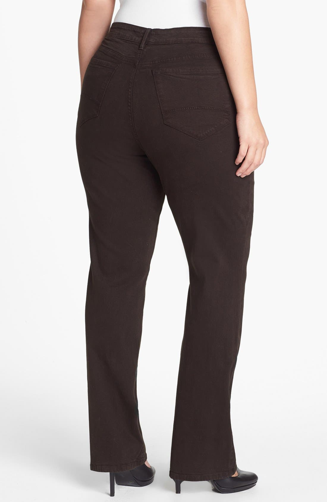 Alternate Image 2  - NYDJ 'Marilyn' Colored Stretch Straight Jeans (Plus Size)