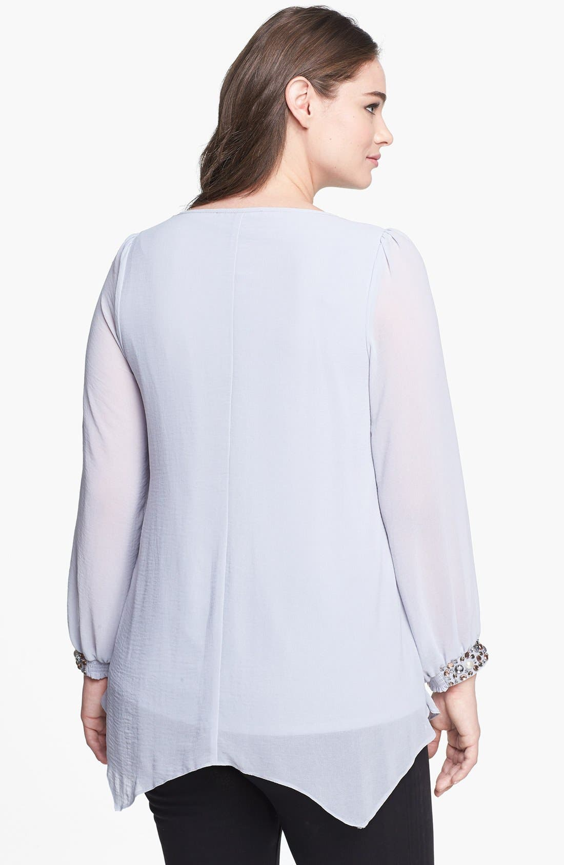 Alternate Image 2  - Evans Embellished Cuff Chiffon Blouse (Plus Size)
