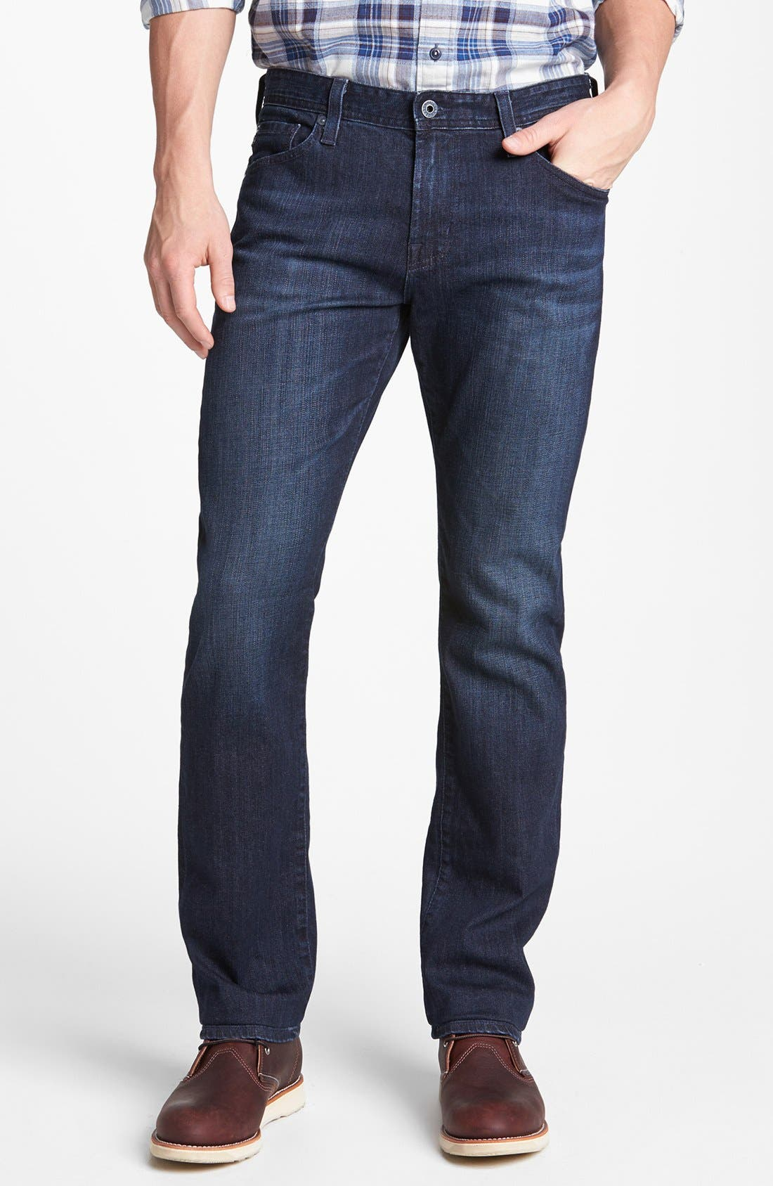 Main Image - John W. Nordstrom® Cashmere V-Neck Argyle Sweater & AG Tailored Fit Straight Leg Jeans