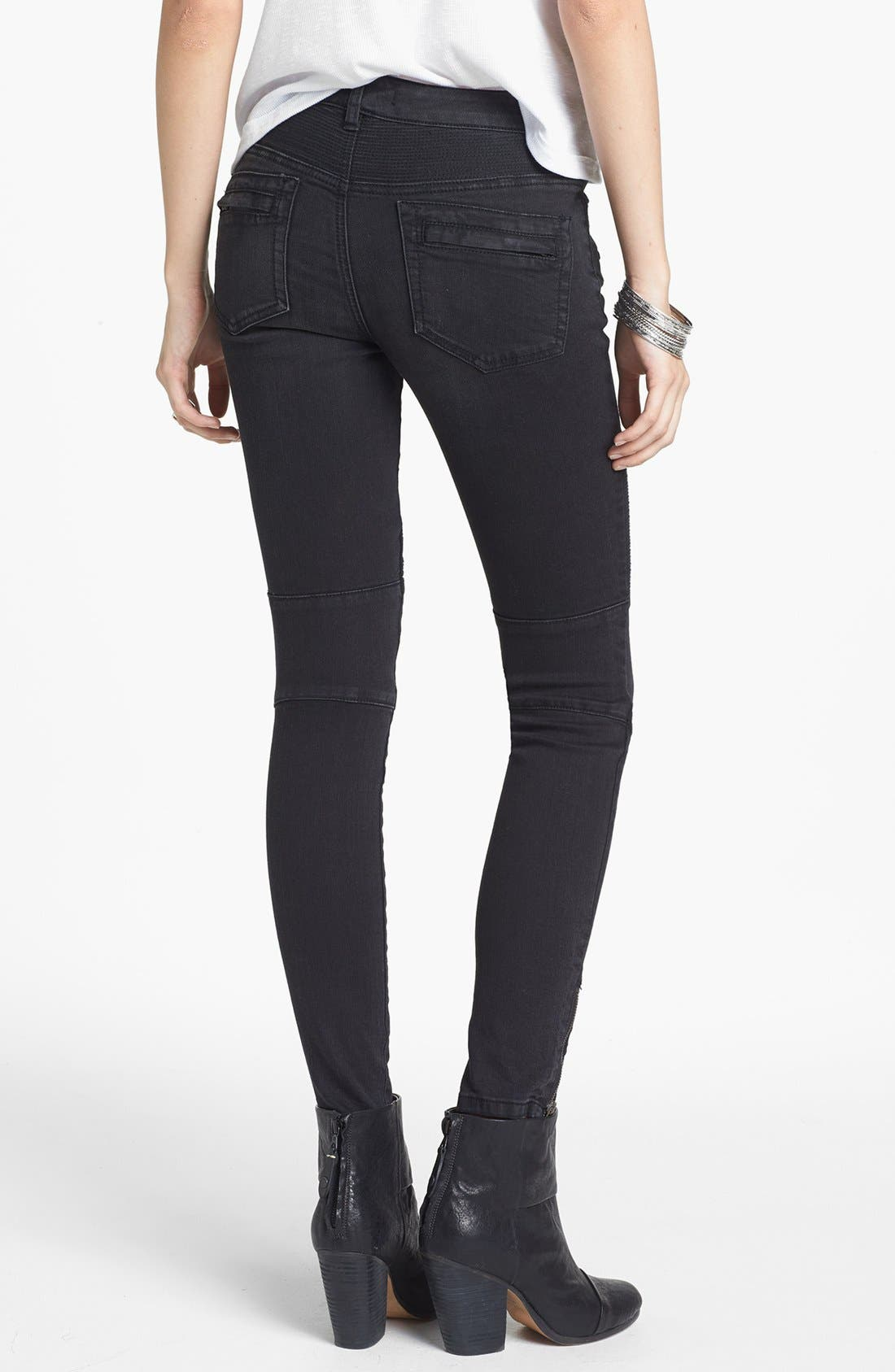 Alternate Image 2  - Free People Seamed Moto Skinny Jeans (Moonlight)