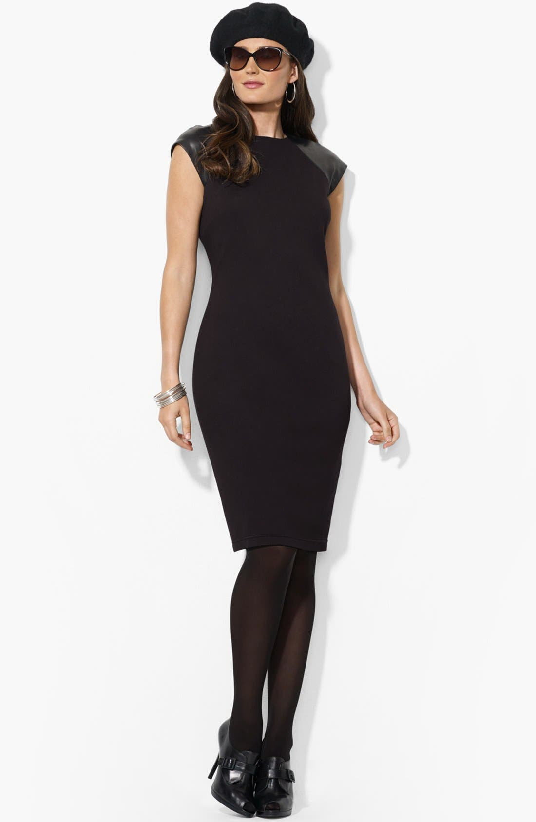 Main Image - Lauren Ralph Lauren Leather Cap Sleeve Dress