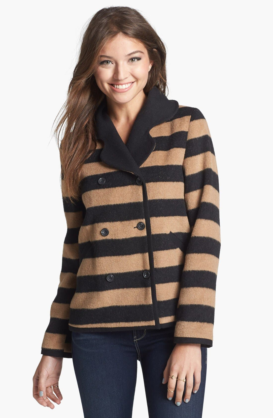 Main Image - Tulle Stripe Double Breasted Coat (Juniors)