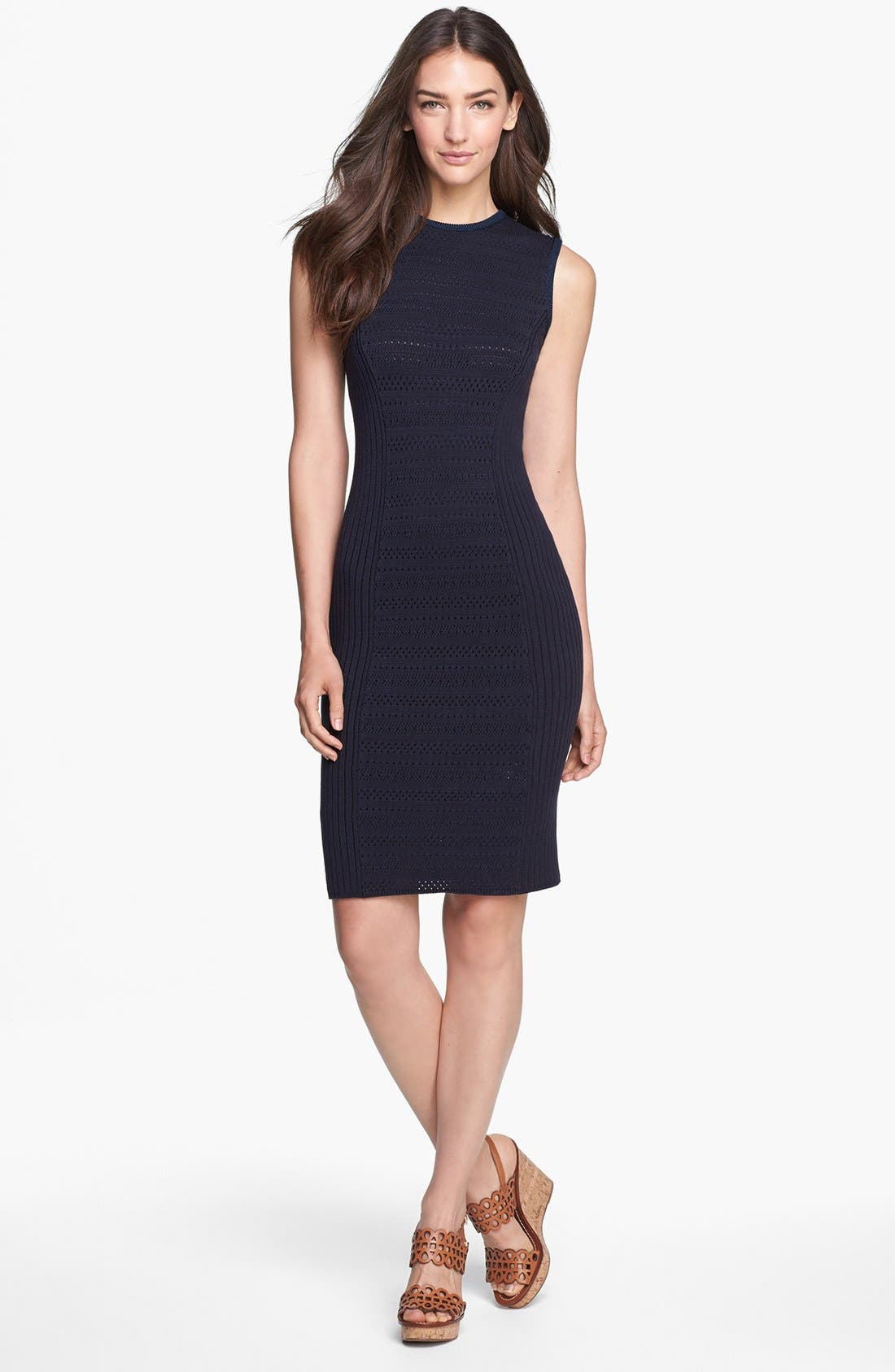 Alternate Image 1 Selected - Tory Burch 'Penelope' Pointelle Knit Sleeveless Dress