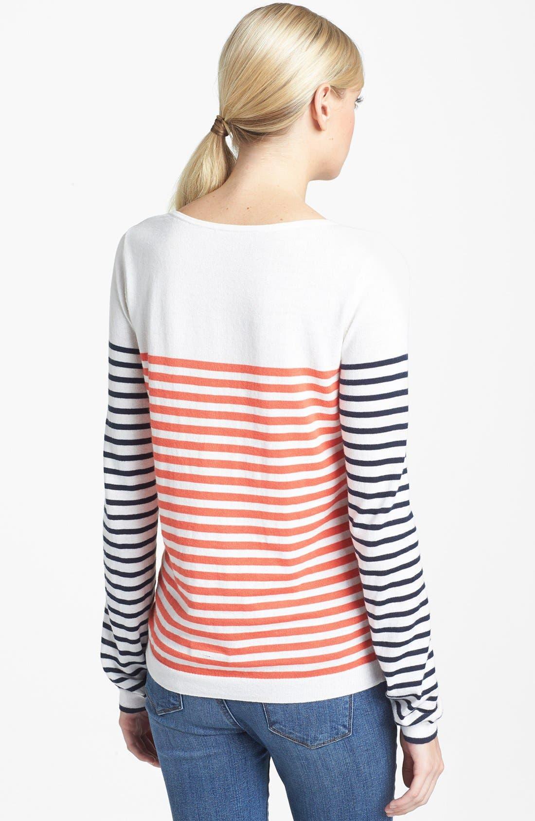 Alternate Image 2  - Hinge® Mix Stripe Cotton Sweater