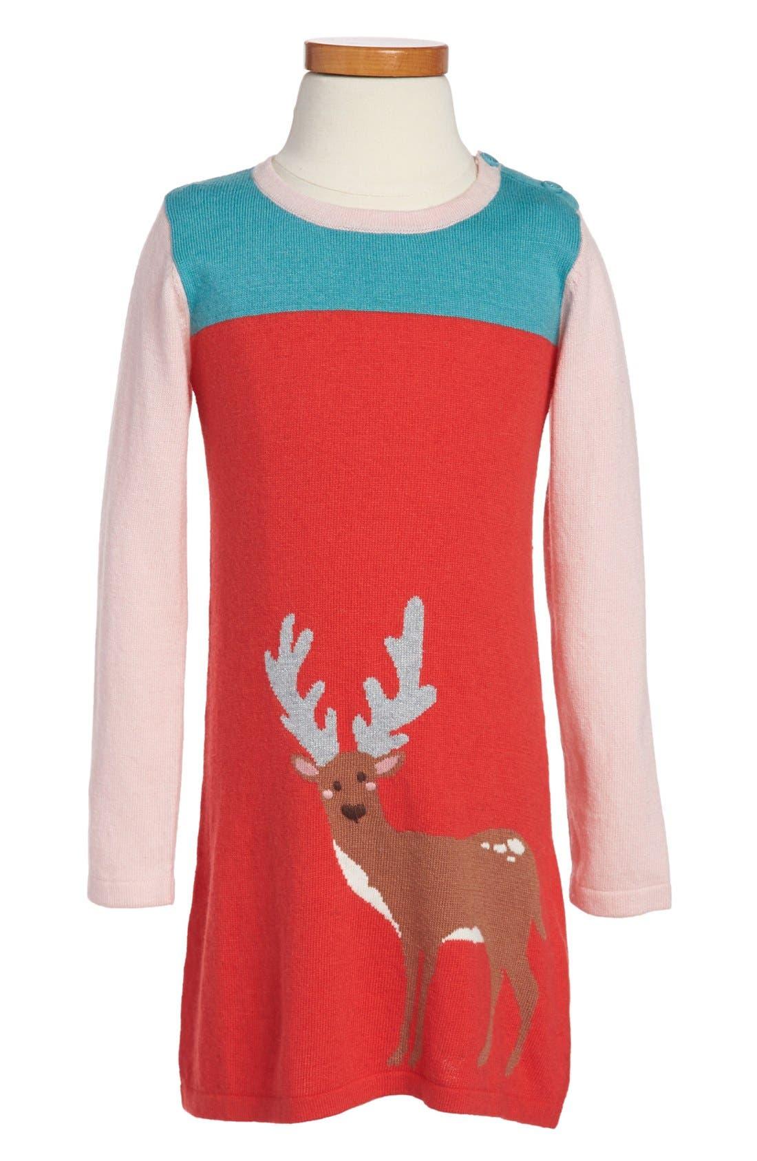 Alternate Image 1 Selected - Mini Boden 'Woodland' Knit Dress (Toddler Girls, Little Girls)
