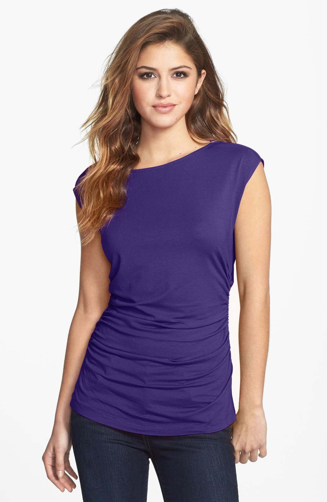 Main Image - Vince Camuto Boatneck Side Ruched Tee (Petite)