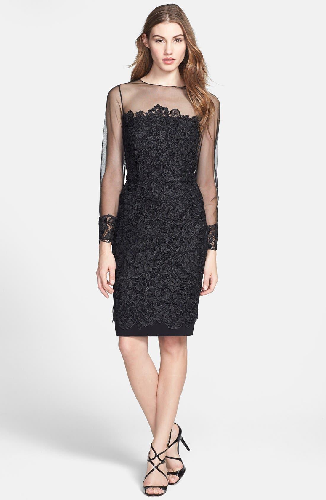 Alternate Image 3  - Patra Illusion Yoke Lace Sheath Dress