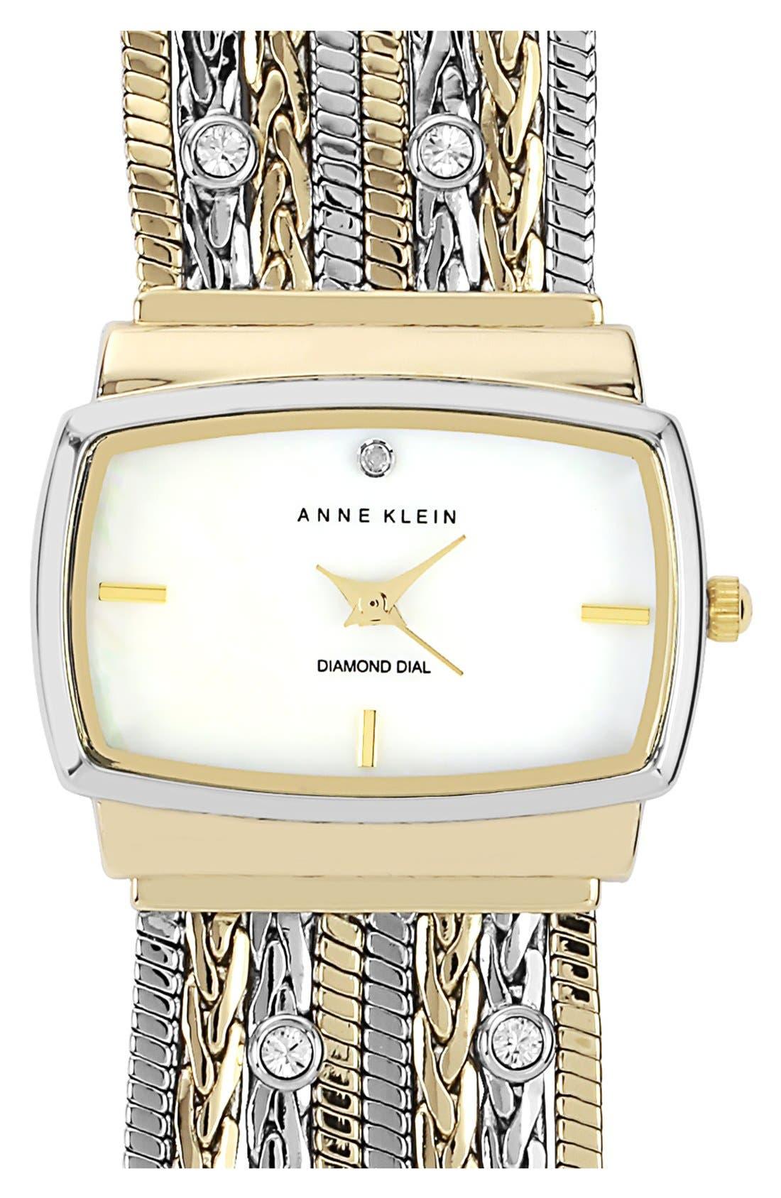 Alternate Image 1 Selected - Anne Klein Single Diamond Two Tone Bracelet Watch, 25mm x 19mm