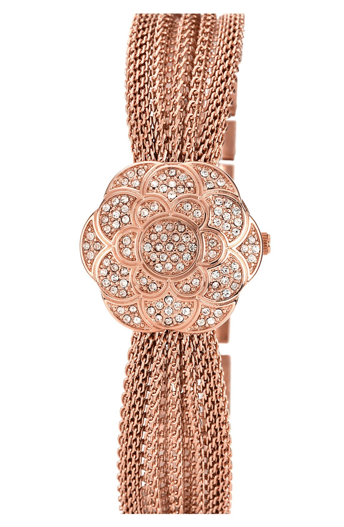 Alternate Image 2  - Anne Klein Flower Case Chain Bracelet Watch