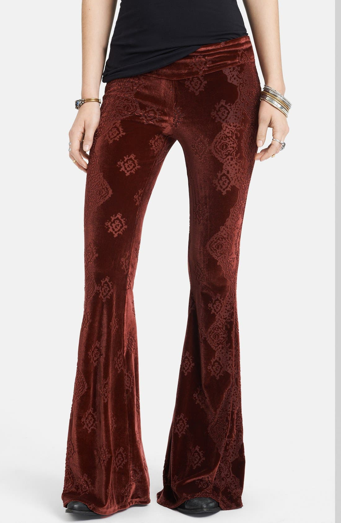 Alternate Image 1 Selected - Free People Patterned Velvet Flared Pants