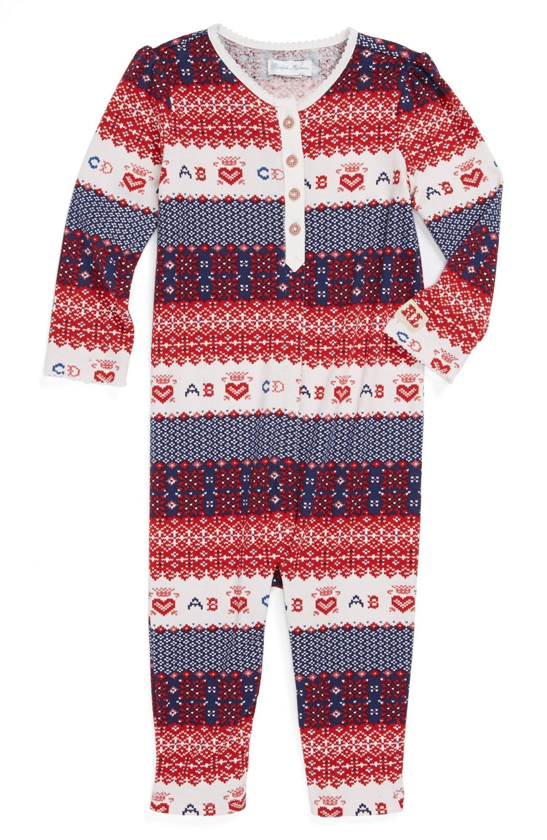 Alternate Image 1 Selected - Ralph Lauren Print Romper (Baby Girls)