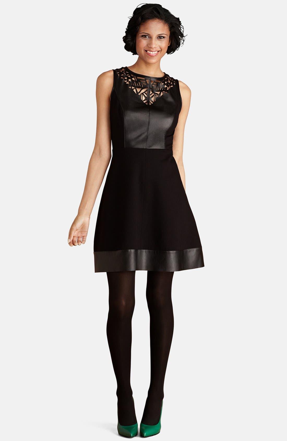 Main Image - Donna Morgan Laser Cutout Mixed Media Fit & Flare Dress