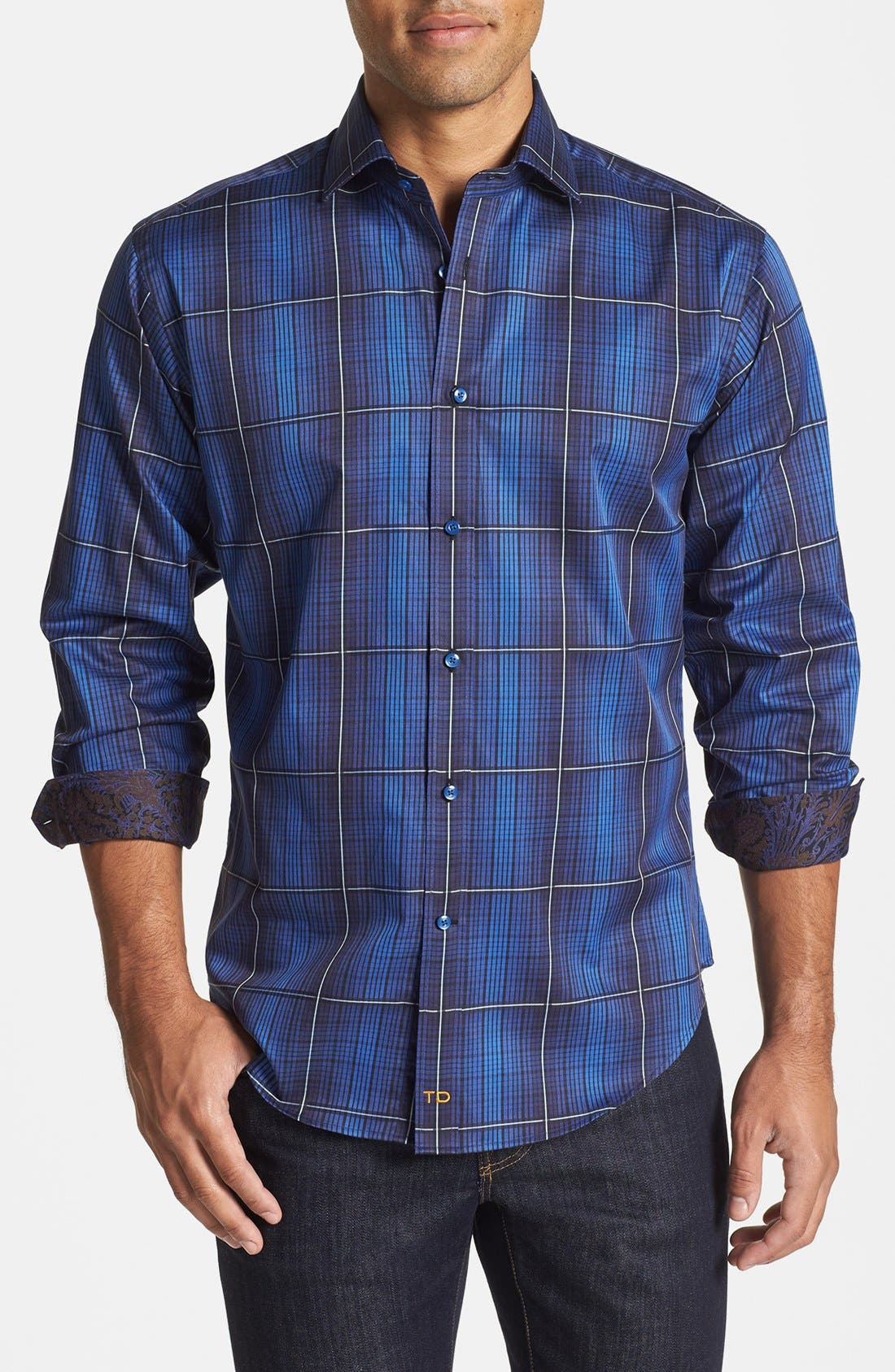 Alternate Image 1 Selected - Thomas Dean Regular Fit Check Twill Sport Shirt