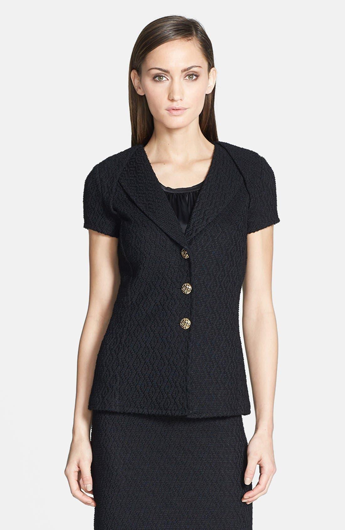 Main Image - St. John Collection Tuck Lapel Collar Diamond Dash Knit Jacket