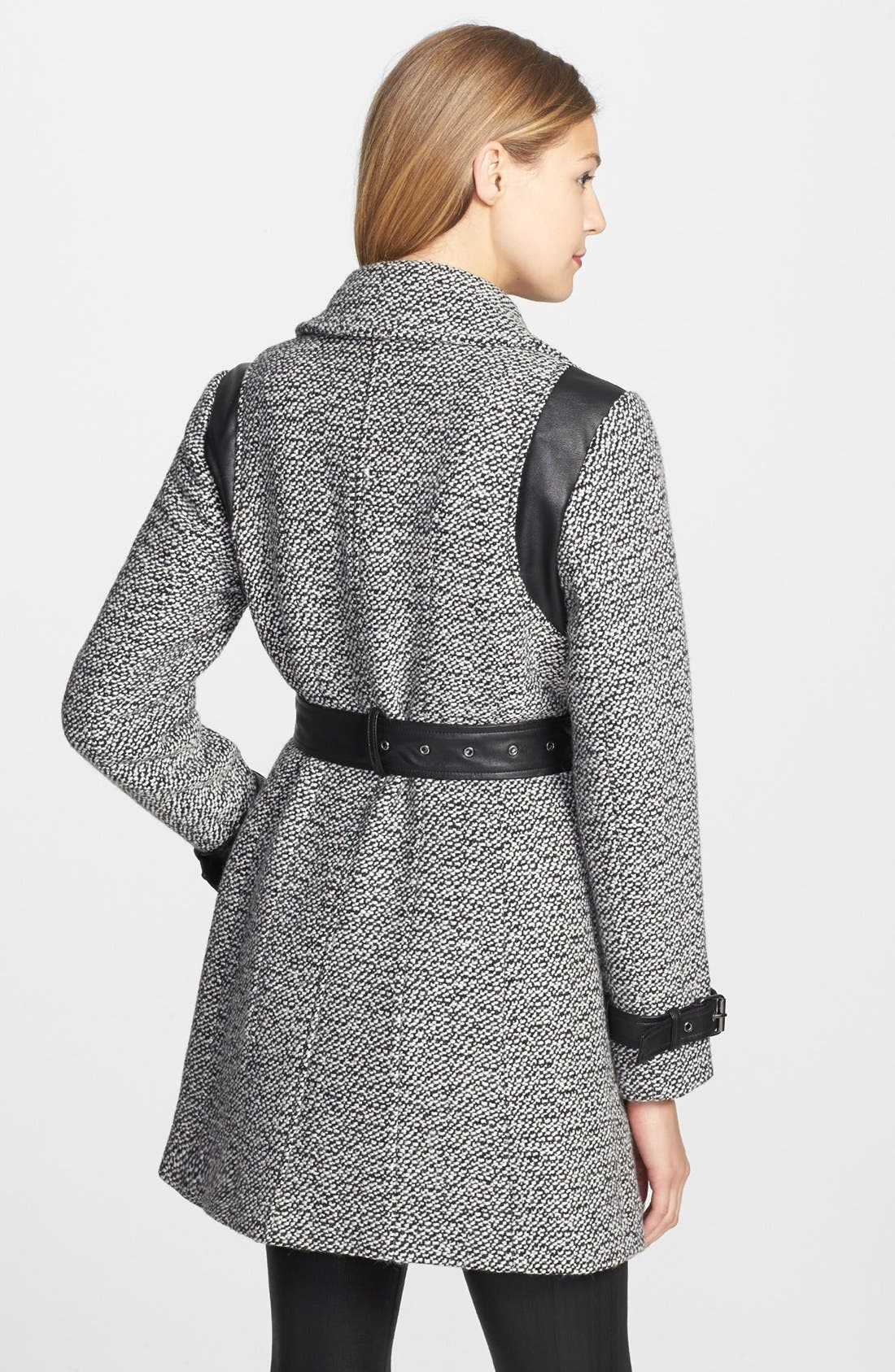 Alternate Image 2  - Gallery Faux Leather Trim Belted Tweed Coat