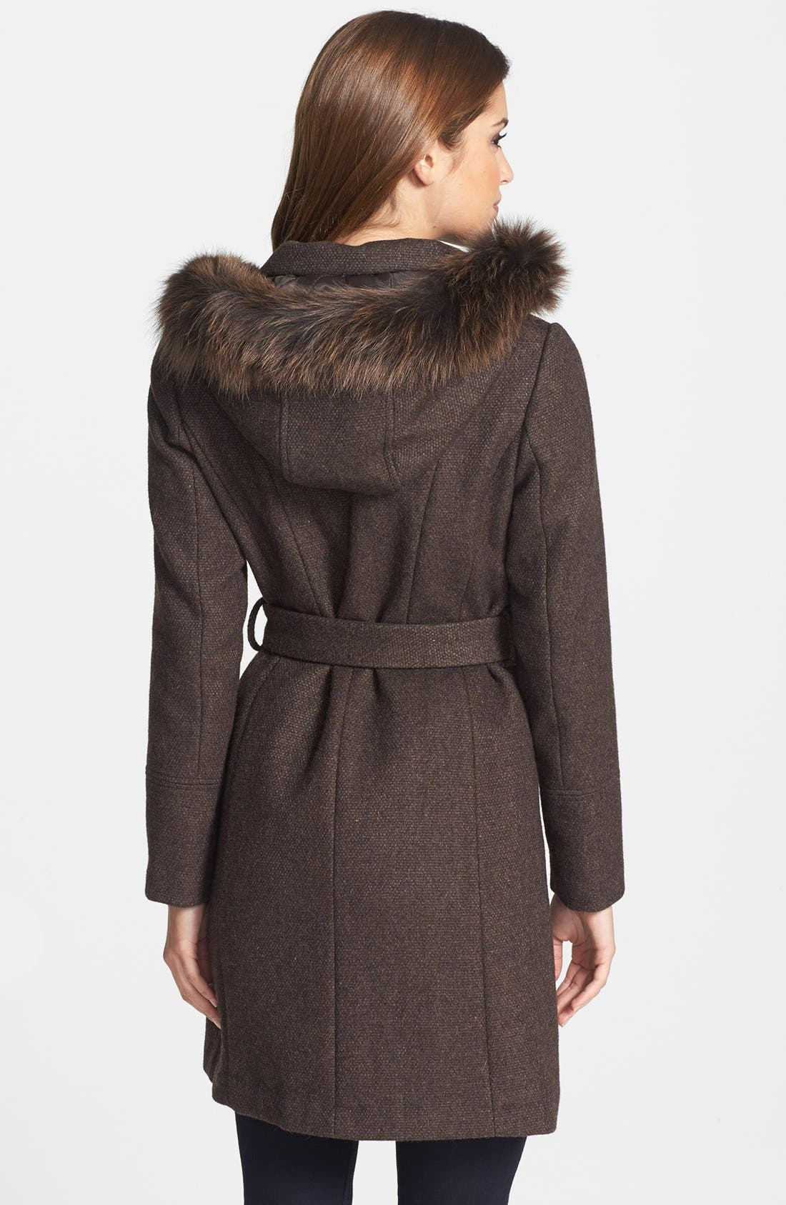 Alternate Image 2  - Ellen Tracy Genuine Fox Fur Trim Hooded Coat (Petite) (Online Only)