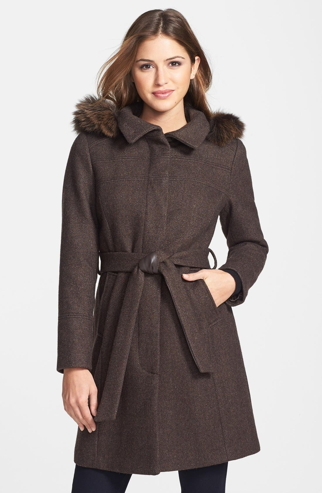 Alternate Image 1 Selected - Ellen Tracy Genuine Fox Fur Trim Hooded Coat (Petite) (Online Only)