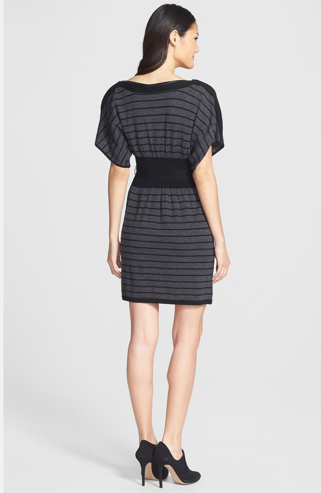 Alternate Image 2  - Laundry by Shelli Segal Stripe Wool Sweater Dress (Petite)