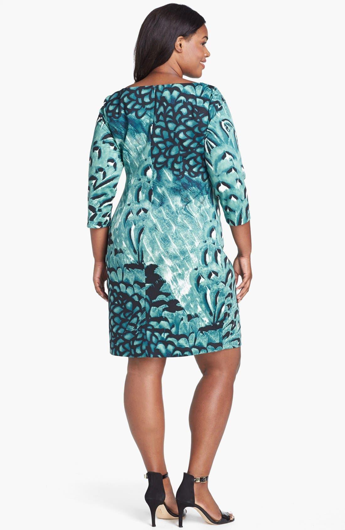 Alternate Image 2  - Jessica Simpson Print Side Pleat Sheath Dress (Plus Size)
