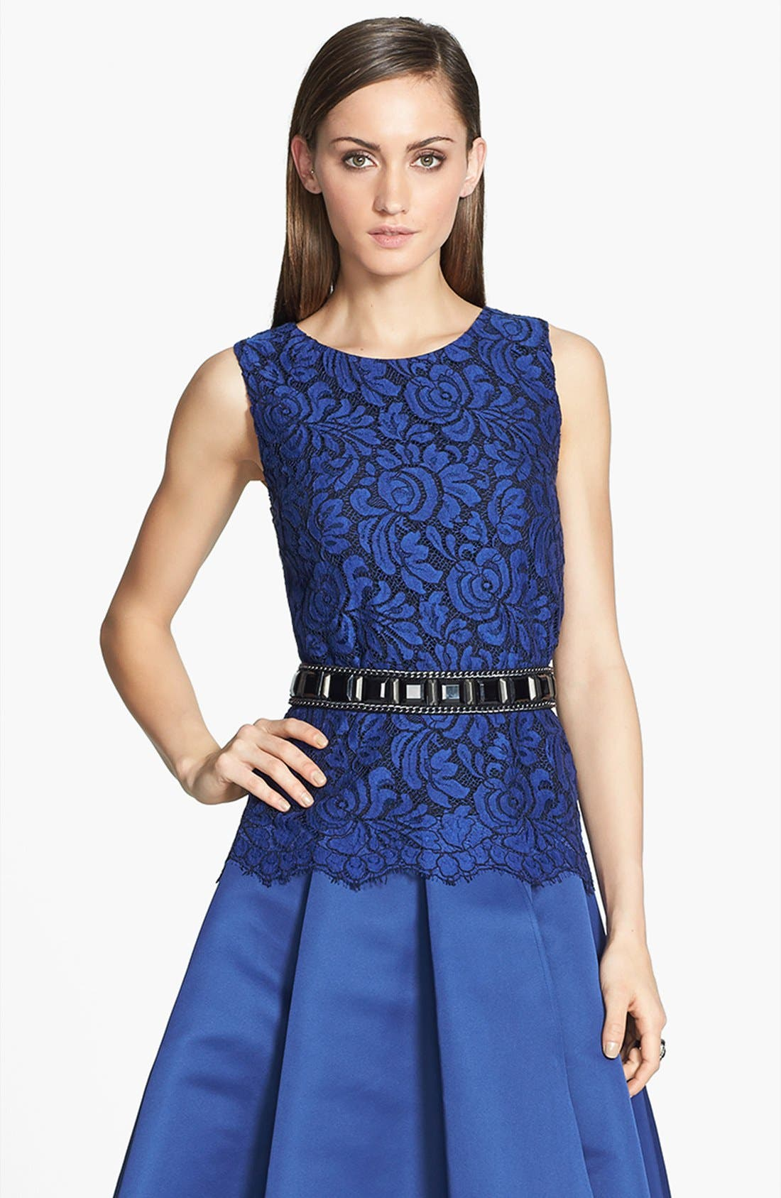 Main Image - St. John Collection Sleeveless Lace A-Line Blouse