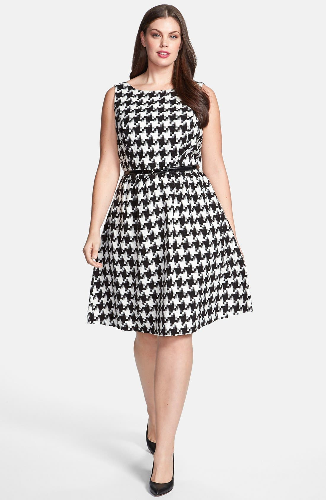 Alternate Image 1 Selected - Jessica Simpson Houndstooth Dress (Plus Size)