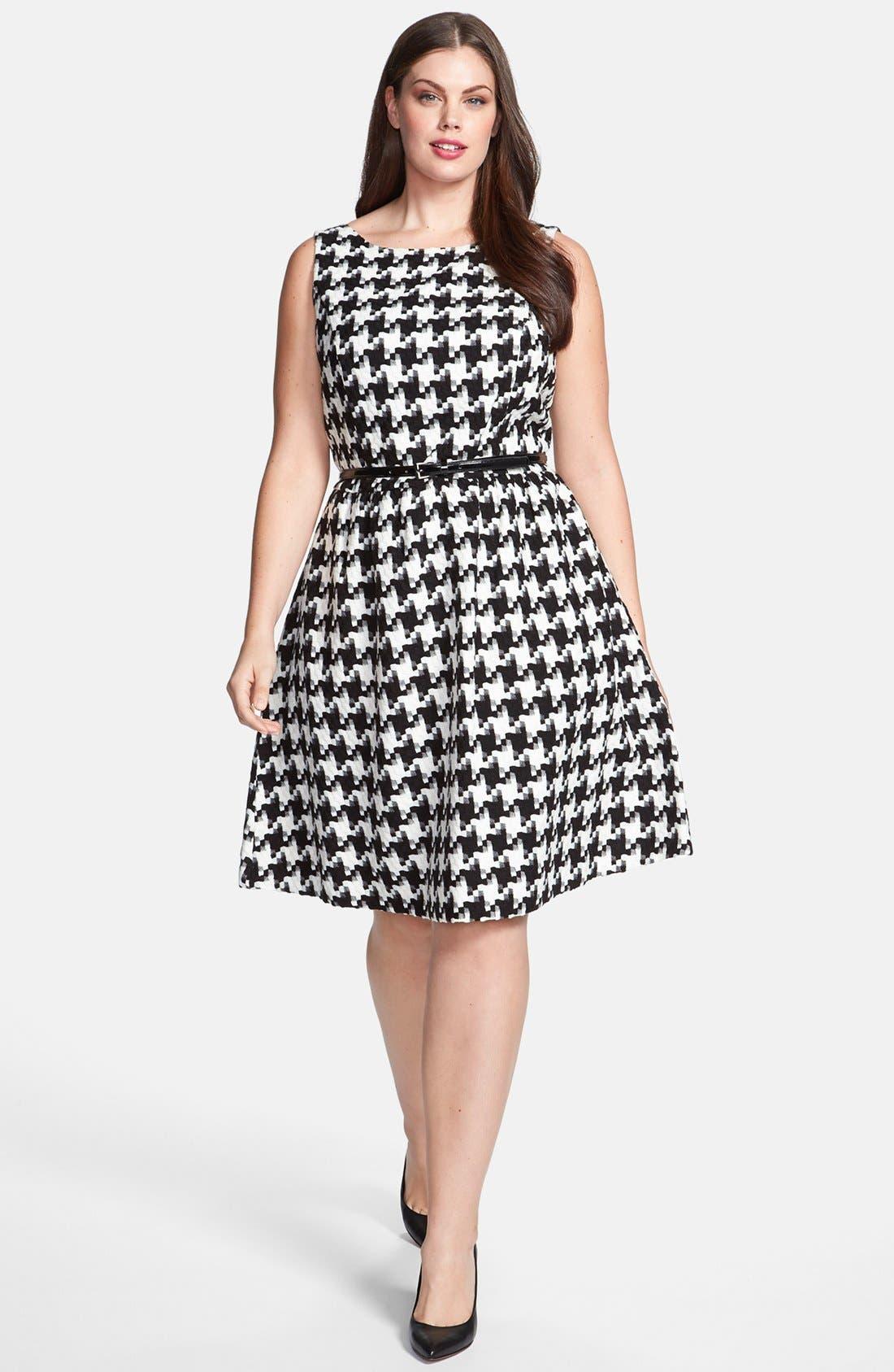 Main Image - Jessica Simpson Houndstooth Dress (Plus Size)