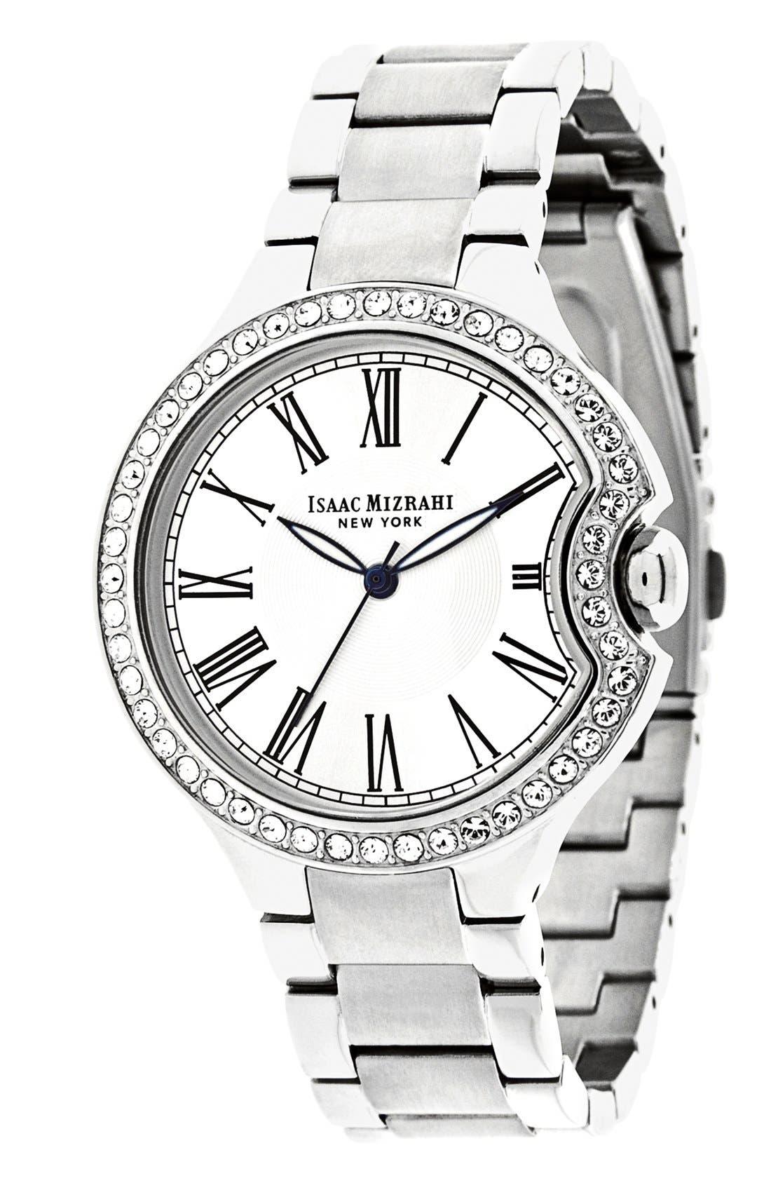 Main Image - Isaac Mizrahi New York Round Roman Numeral Bracelet Watch, 38mm