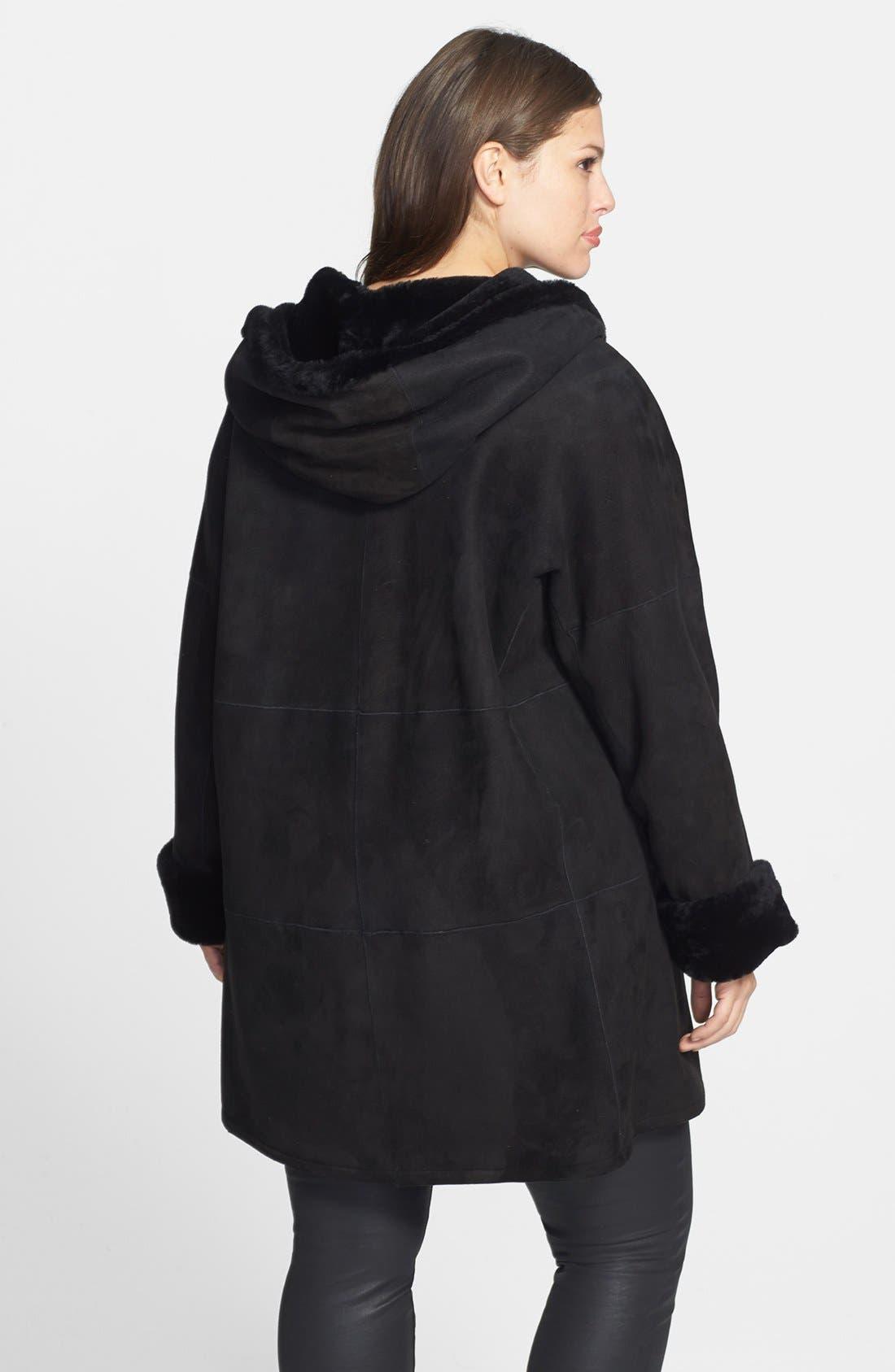 Alternate Image 2  - Blue Duck Genuine Shearling Hooded Coat (Plus Size)