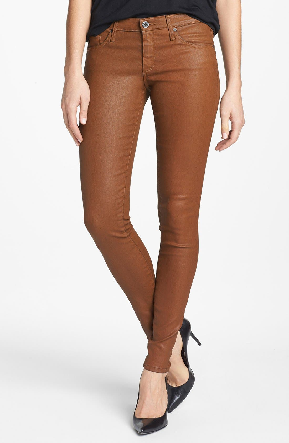 Main Image - AG 'The Absolute Legging' Coated Skinny Jeans (Bear Bee)