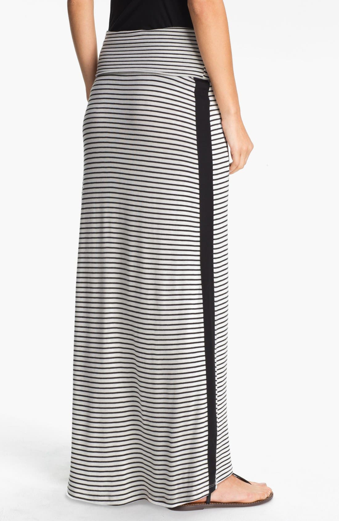 Alternate Image 2  - Everleigh Tuxedo Stripe Maxi Skirt (Petite)