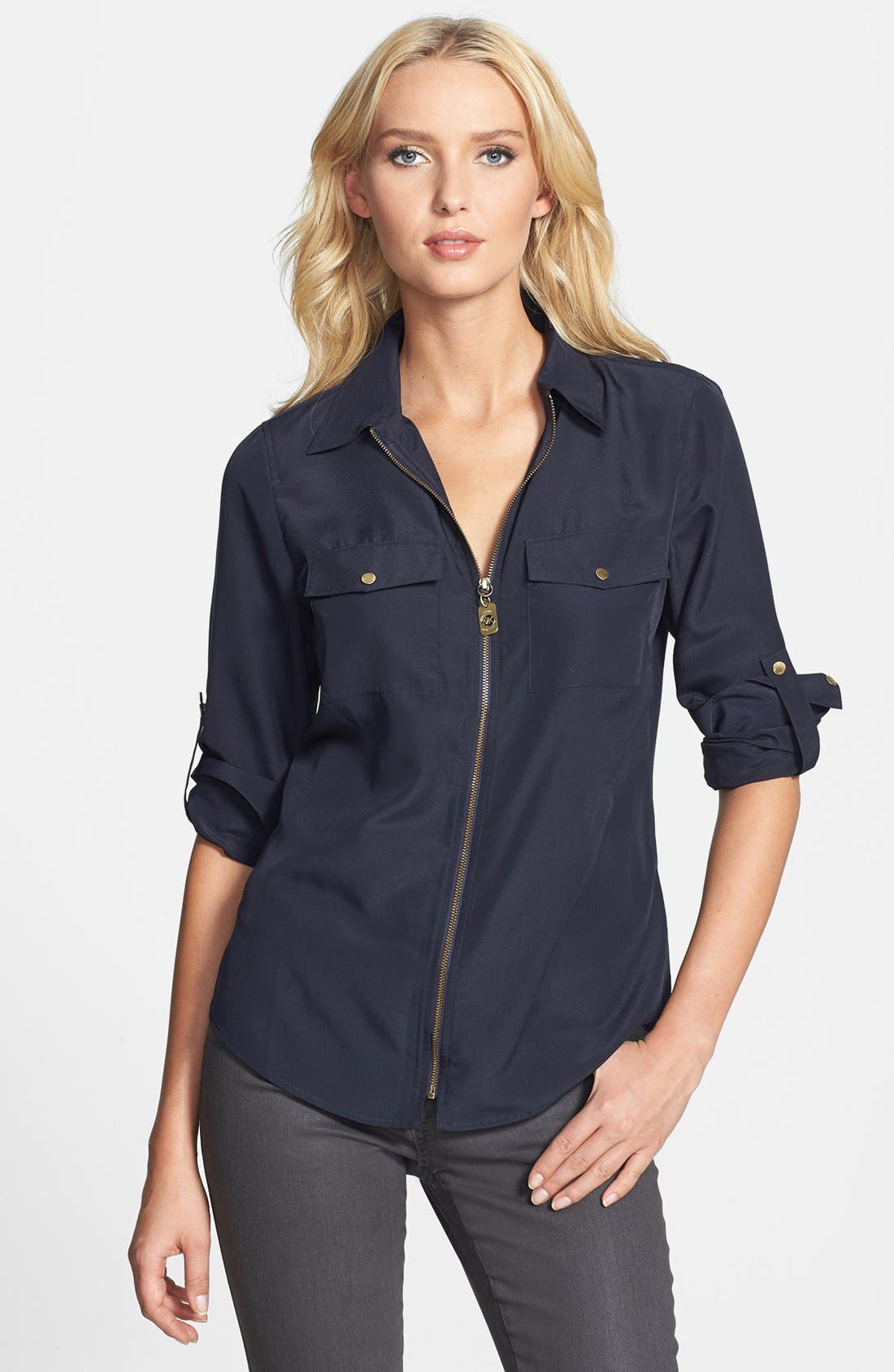 Alternate Image 1 Selected - MICHAEL Michael Kors 'Dogtag Zip' Campshirt