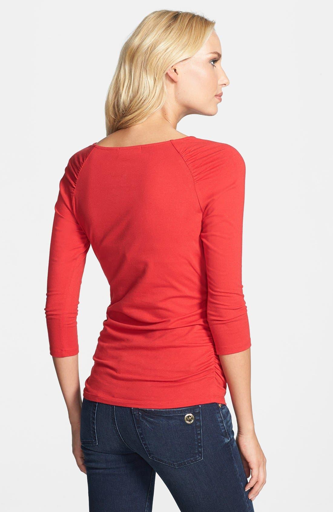 Alternate Image 2  - MICHAEL Michael Kors Zip Shirred Shoulder Top