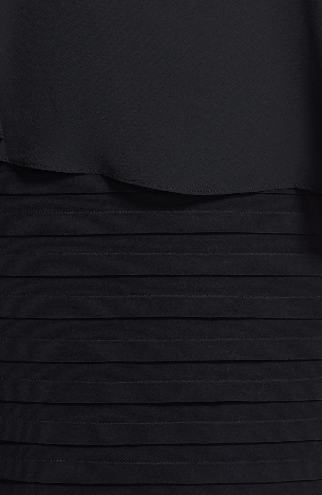 Alternate Image 3  - Betsy & Adam Chiffon Overlay Shutter Pleat Sheath Dress (Plus Size)