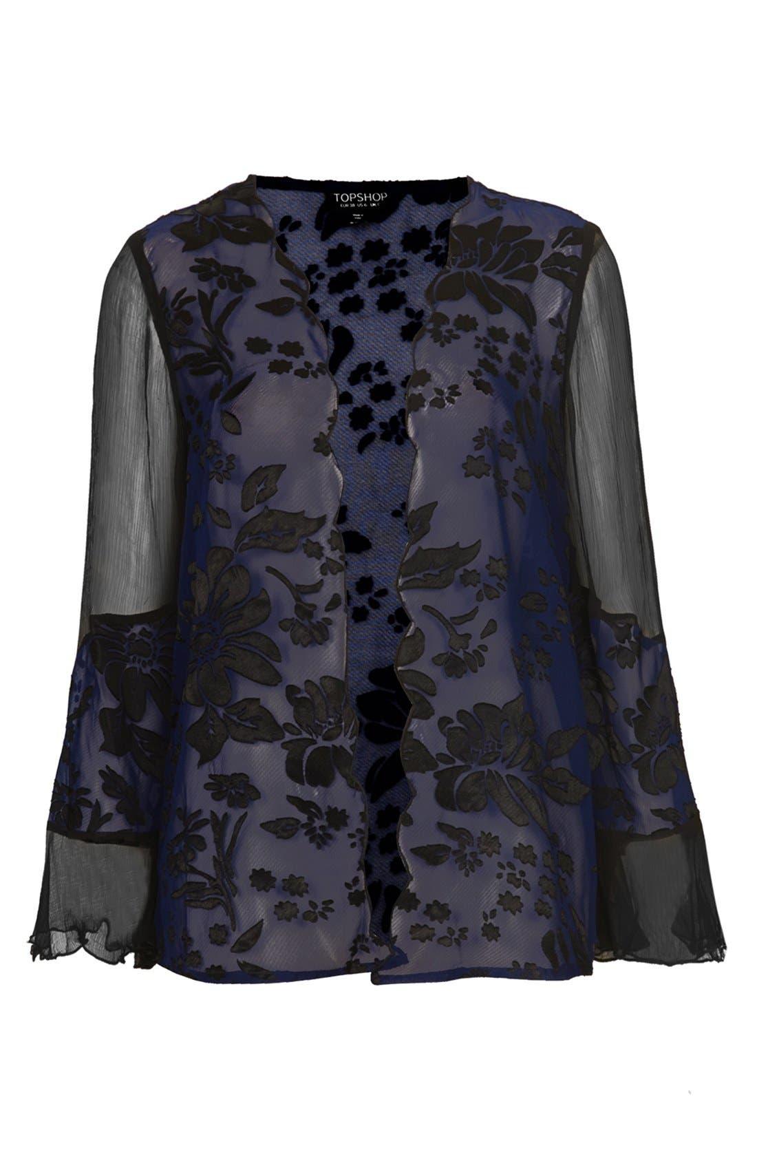 Alternate Image 3  - Topshop Floral Burnout Kimono Cardigan