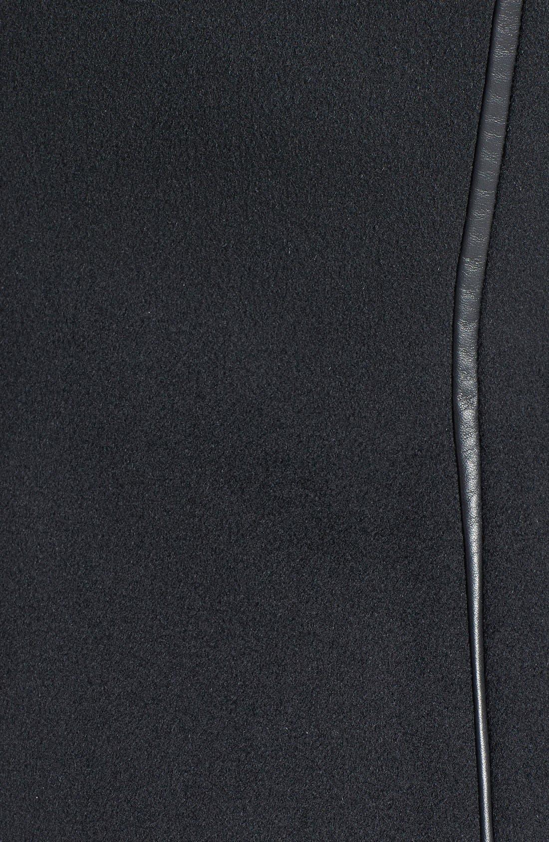 Alternate Image 3  - Dawn Levy 'Serena' Leather Sleeve Asymmetrical Wool Coat