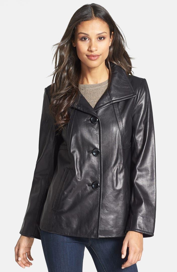 Ellen Tracy A Line Leather Jacket Nordstrom
