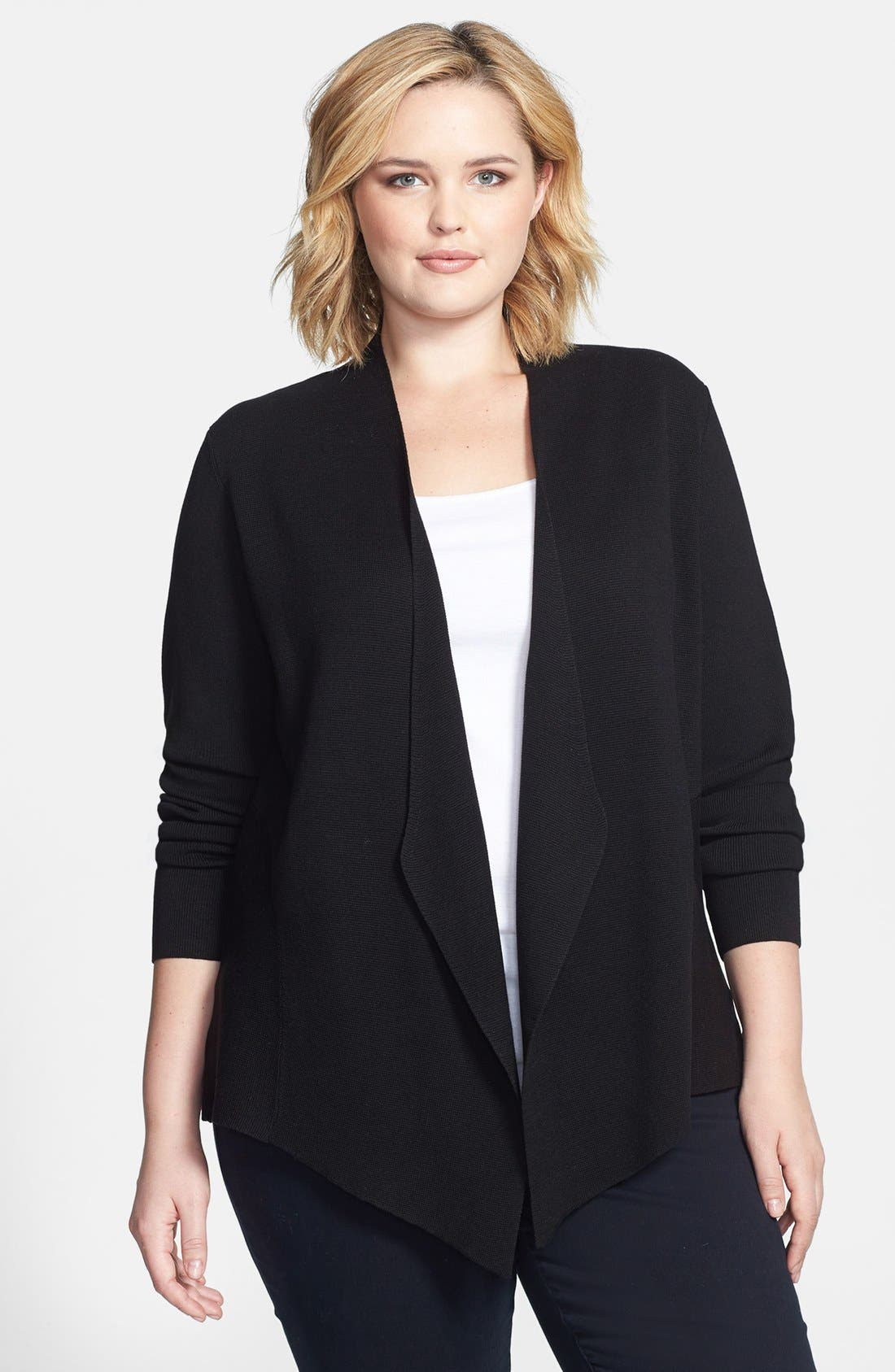 Alternate Image 1 Selected - Eileen Fisher Angle Front Silk & Cotton Jacket (Plus Size)