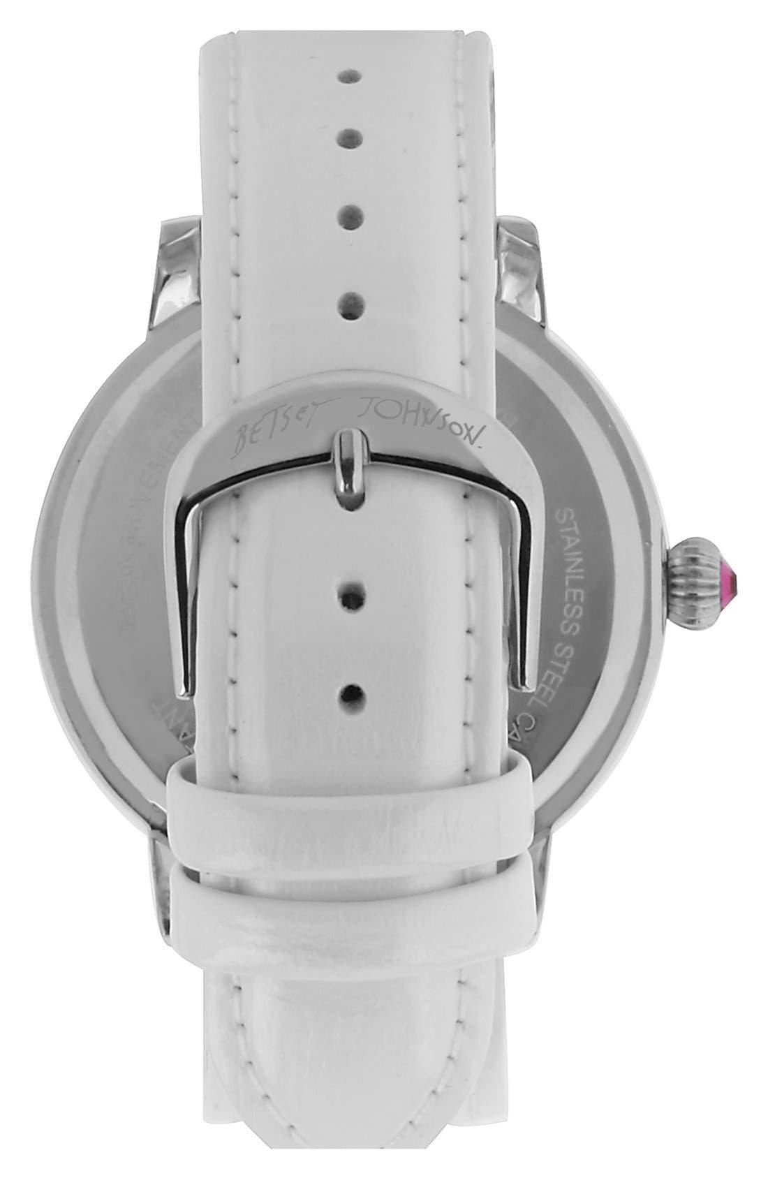 Alternate Image 2  - Betsey Johnson Heart Dial Crystal Bezel Watch, 46mm
