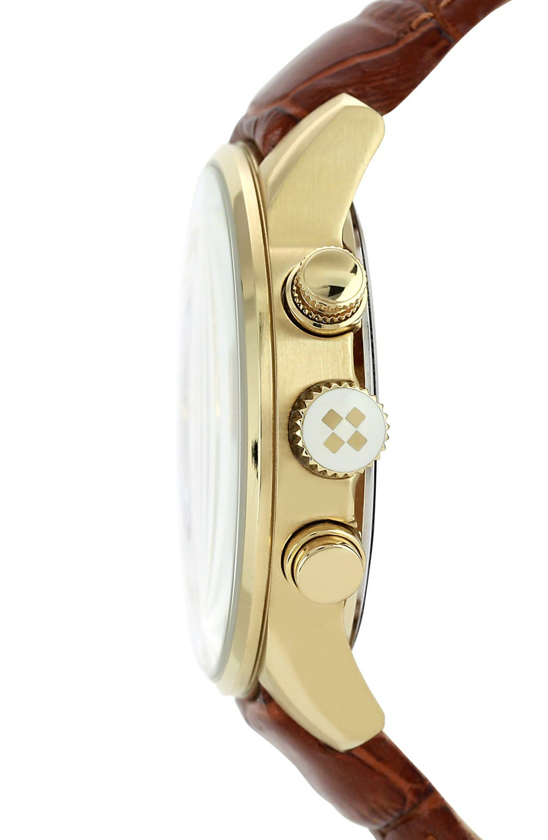 Alternate Image 3  - Vince Camuto 'The Apolo' Round Leather Strap Watch, 45mm