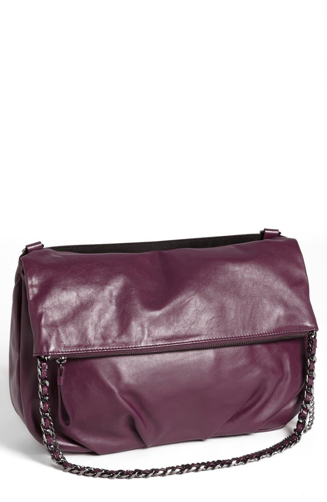 Main Image - Trouvé Foldover Leather Crossbody Bag