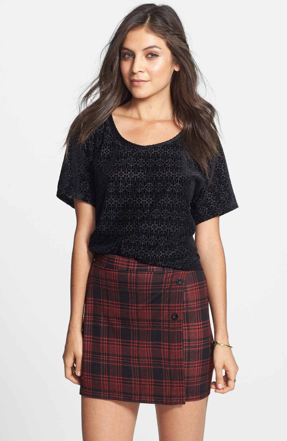 Alternate Image 1 Selected - Painted Threads Plaid Miniskirt (Juniors) (Online Only)