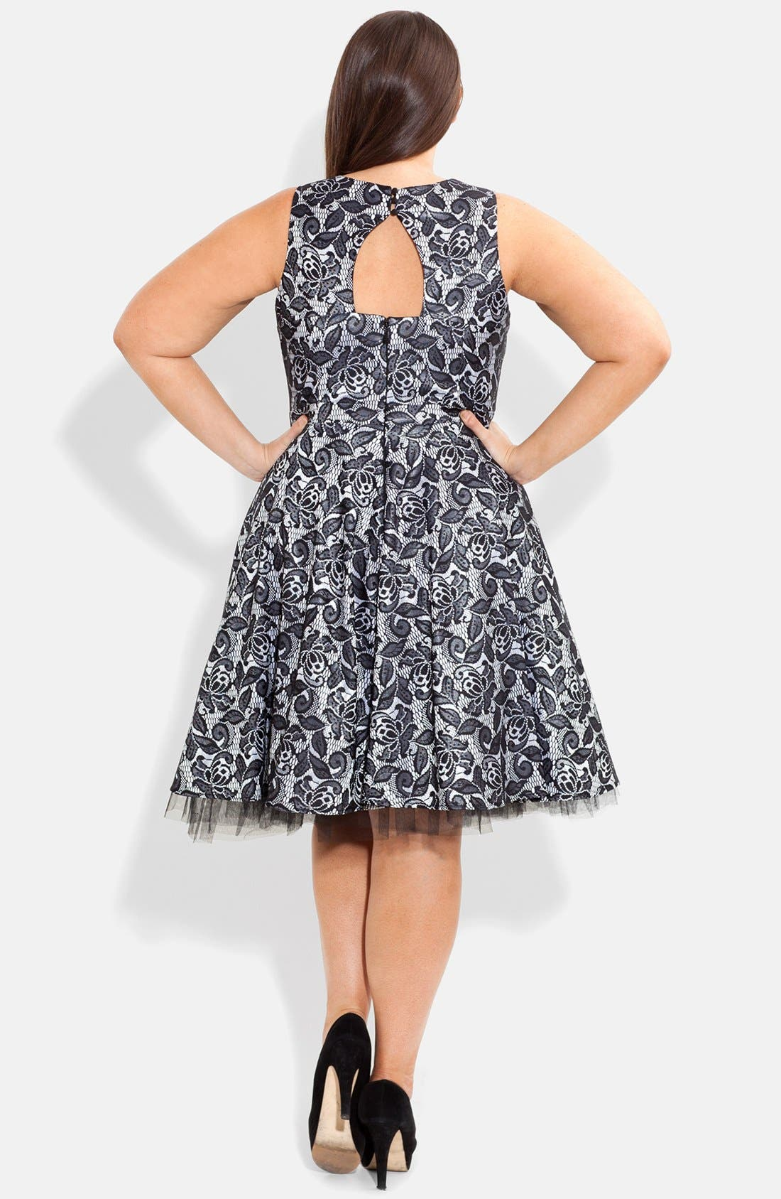Alternate Image 2  - City Chic Bonded Lace Fit & Flare Dress (Plus Size)