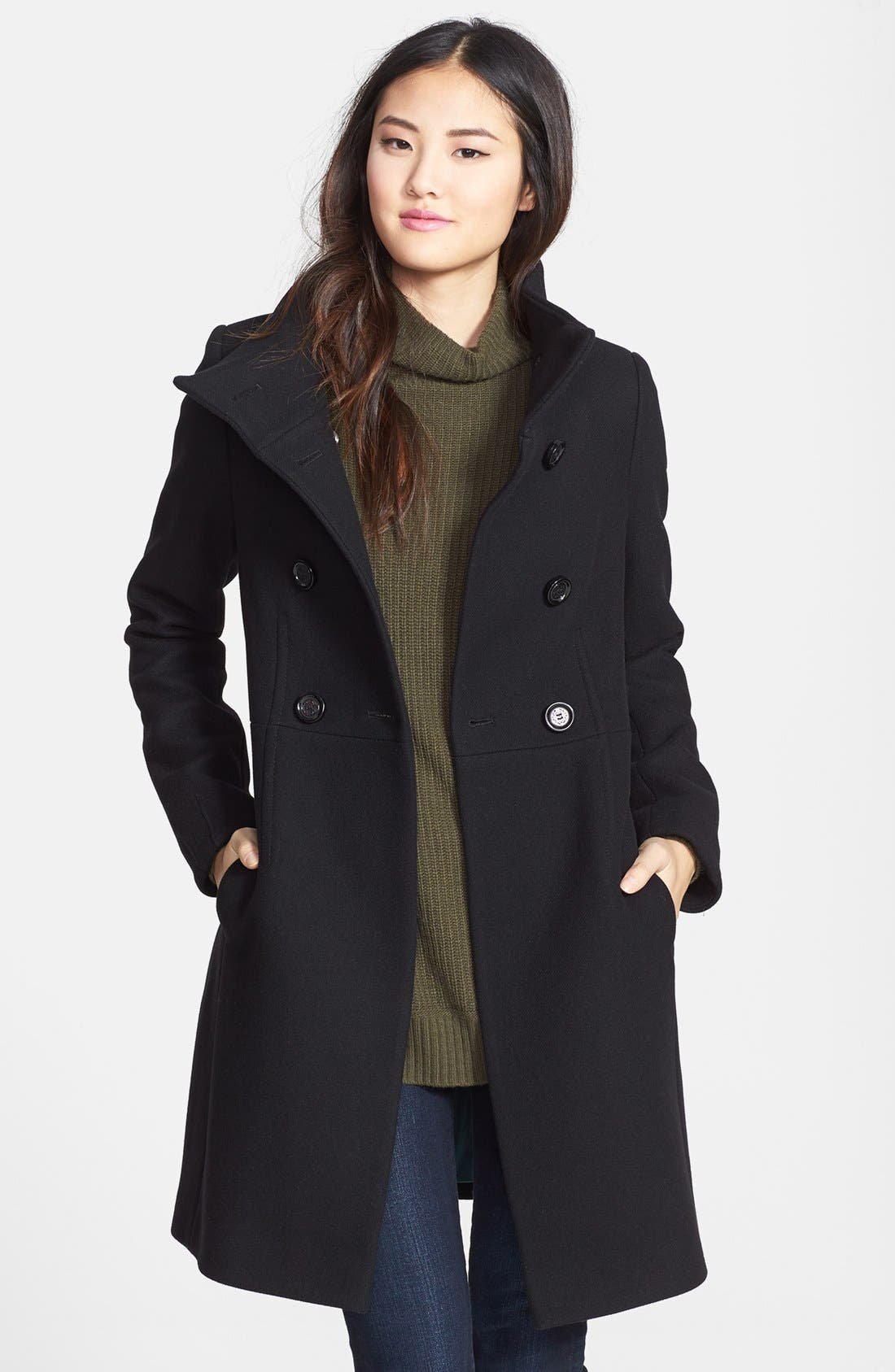 Main Image - Elie Tahari 'Pina' Stand Collar Double Breasted Long Wool Blend Coat