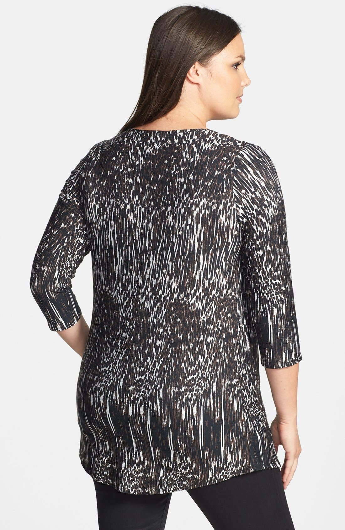 Alternate Image 2  - Evans Bar Trim Animal Print Top (Plus Size)