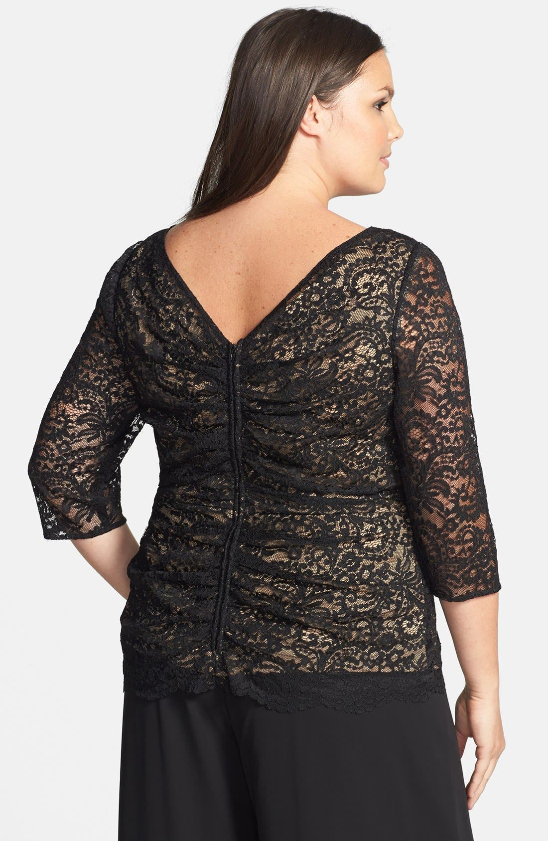 Alternate Image 2  - Alex Evenings Ruched Back Zip Lace Top (Plus Size)